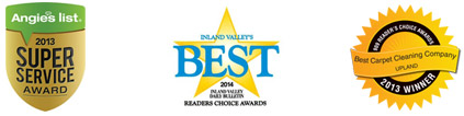 Angies List 2013 Super Service Award, Inland Valley's Best 2014 Award, Best Carpet Cleaning Company Award